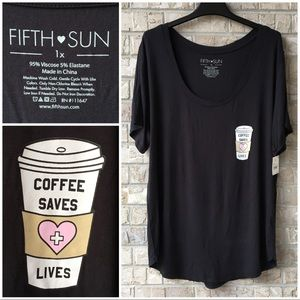 NWT Coffee Saves Lives Top Fifth Sun Plus Size 1X